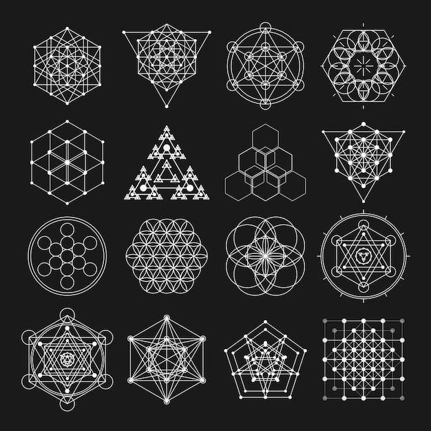 Elementi di disegno vettoriale di geometria sacra. Vettore Premium