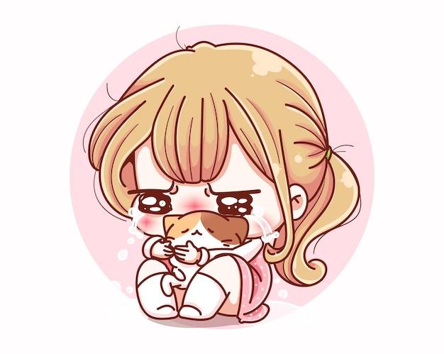 Ragazza carina piange triste e disegno del personaggio dei cartoni animati. Vettore Premium