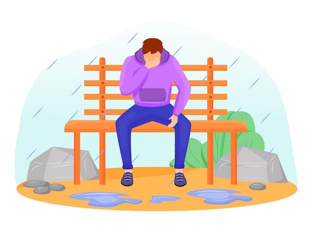 Illustrazione di colore piatto uomo triste maschio caucasico che si siede sul banco sotto la pioggia. malinconia stagionale. tempo umido. ragazzo depresso in felpa personaggio dei cartoni animati senza volto con alberi sullo sfondo Vettore Premium