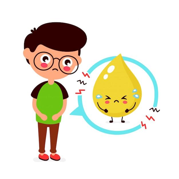 Giovane malato triste con il carattere di problema dell'urina. icona illustrazione piatto dei cartoni animati. isolato su bianco problema alla vescica, dolore Vettore Premium