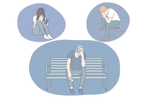 Tristezza, stress, solitudine, depressione mentale, dolore, rottura, concetto di litigio. Vettore Premium
