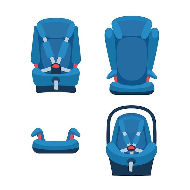 Collezione di seggiolini auto di sicurezza. diversi tipi di seggiolini per bambini. oggetti isolati. Vettore Premium