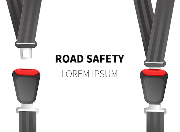 Illustrazione vettoriale di cintura di sicurezza. cinture di sicurezza per auto. Vettore Premium