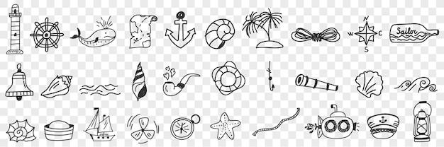 Insieme di doodle di attrezzature nautiche e vela. Vettore Premium
