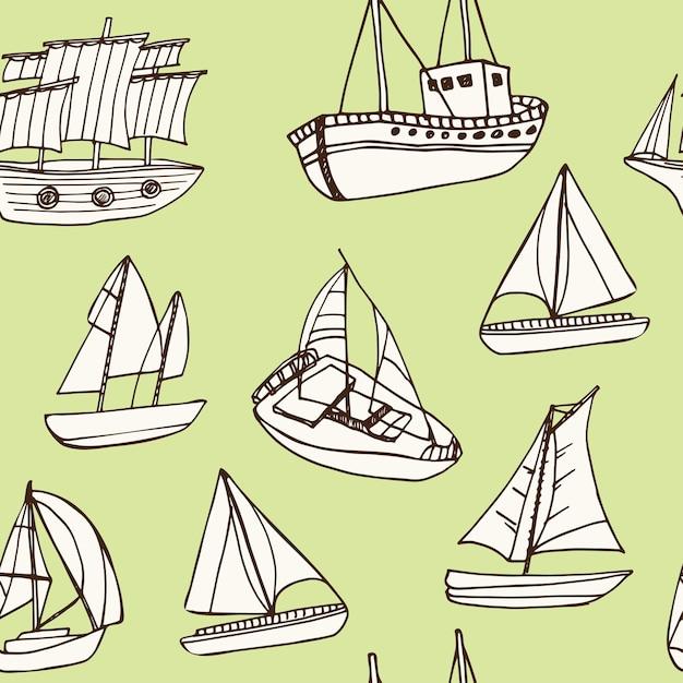 Modello senza cuciture di doodle disegnato a mano di nave a vela Vettore Premium