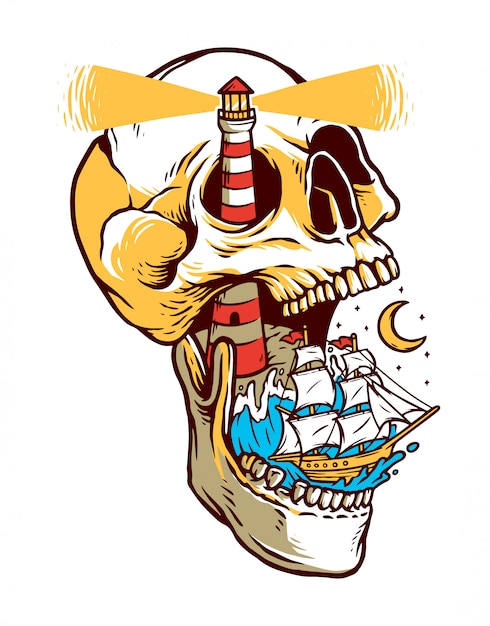 Navigando sull'illustrazione isola teschio Vettore Premium