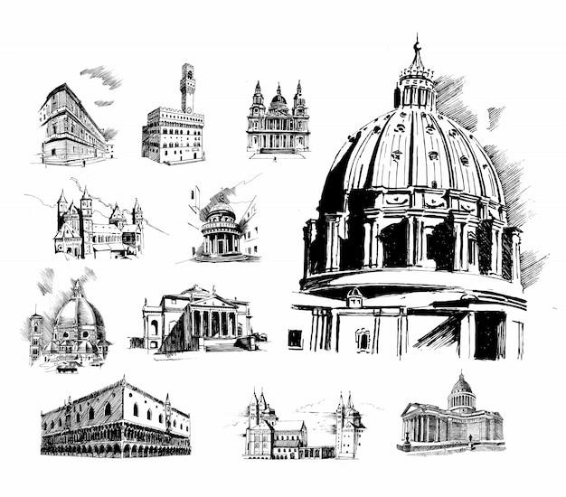 Illustrazione di cattedrale di san basilio. set di architettura di storia Vettore Premium