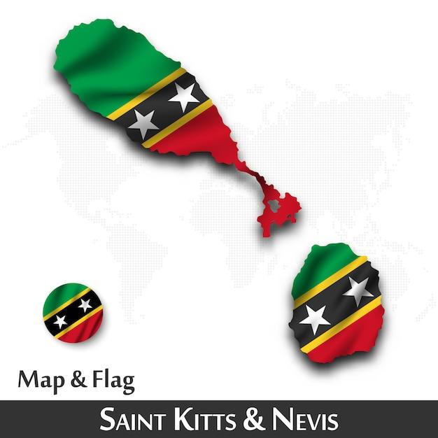 Mappa e bandiera di saint kitts e nevis. agitando il design tessile. dot mappa del mondo di fondo. Vettore Premium