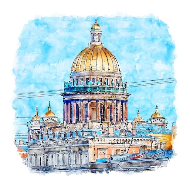 Illustrazione disegnata a mano di schizzo dell'acquerello di san pietroburgo russia Vettore Premium