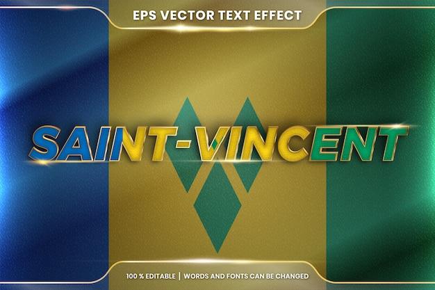 Saint vincent con la sua bandiera sventolante del paese nazionale, stile di effetto testo modificabile con concetto di colore oro sfumato Vettore Premium
