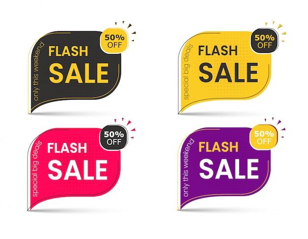 Banner di vendita di grandi sconti, adesivo 50, tag pubblicitari per offerte speciali. Vettore Premium