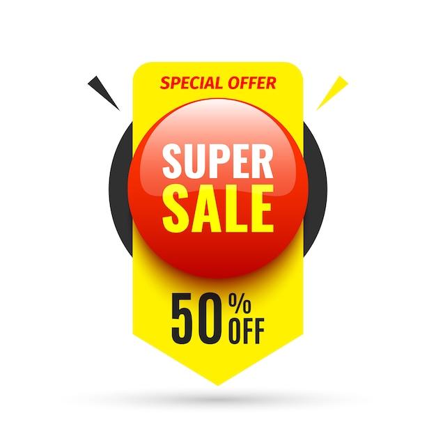 Banner di vendita. pulsante tondo rosso. illustrazione. Vettore Premium