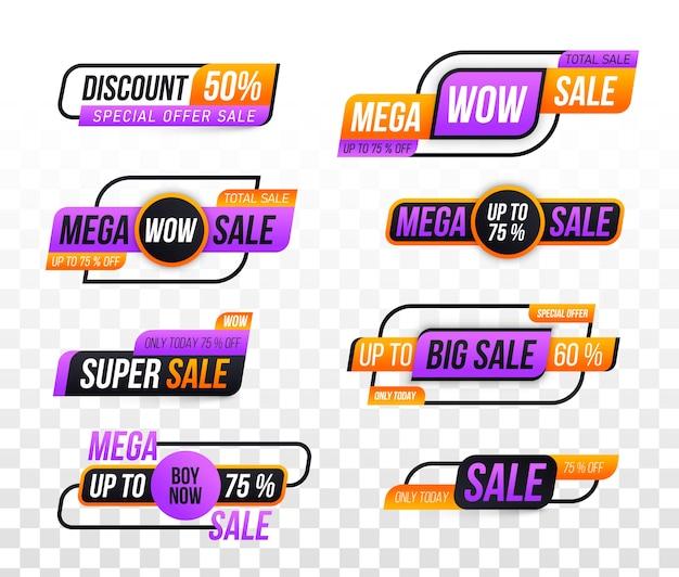 Banner di vendita. offerta speciale, sconto, miglior prezzo, mega, grande vendita, set di banner. Vettore Premium
