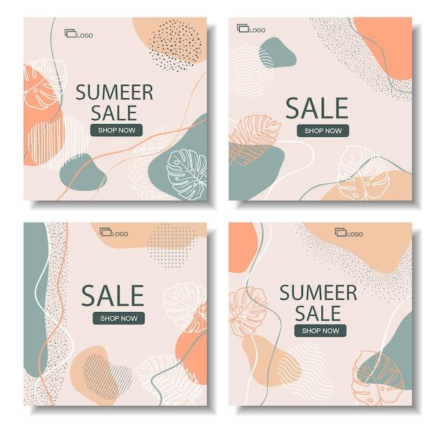 Banner di vendita di dimensioni quadrate per instagram, disegno astratto floreale Vettore Premium