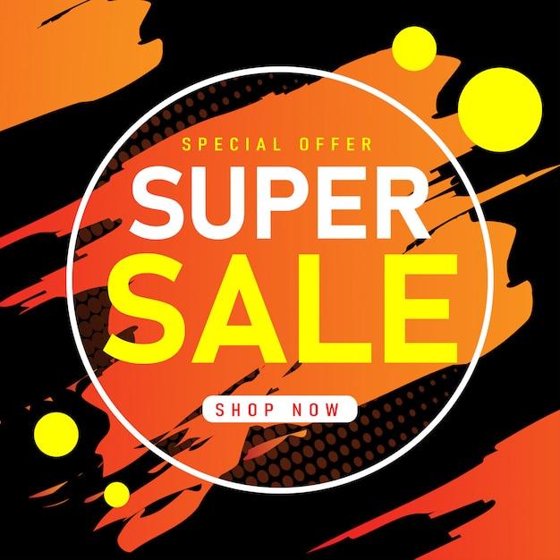 Vendita modello di banner design, offerta speciale di vendita super. Vettore Premium