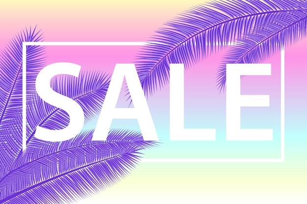 Banner di vendita con foglie di palma. sfondo floreale ultra viola tropicale. illustrazione. saldi estivi caldi. eps 10. Vettore Premium