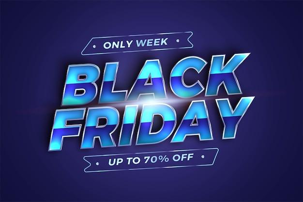 Vendita black friday con concetto di colore azzurro argento metallizzato effetto tema per flayer alla moda e mercato di promozione di modelli di banner online Vettore Premium