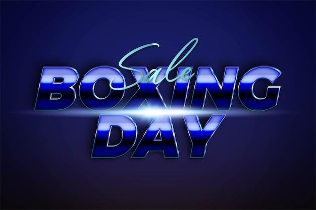 Boxing day di vendita con concetto di colore azzurro argento metallizzato per flayer alla moda e promozione di modelli di banner social media online Vettore Premium