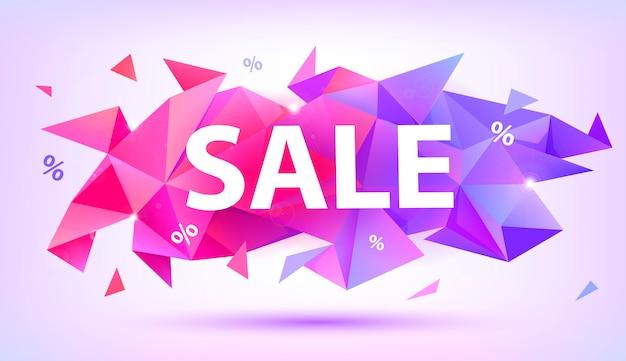 Vendita sfaccettatura striscione di cristallo. poster di forma astratta, carta, pubblicità Vettore Premium