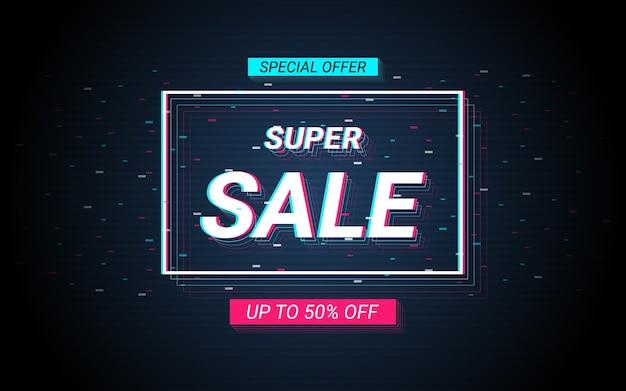 Testo dell'etichetta di vendita in glitch e effetto colore della luce al neon Vettore Premium