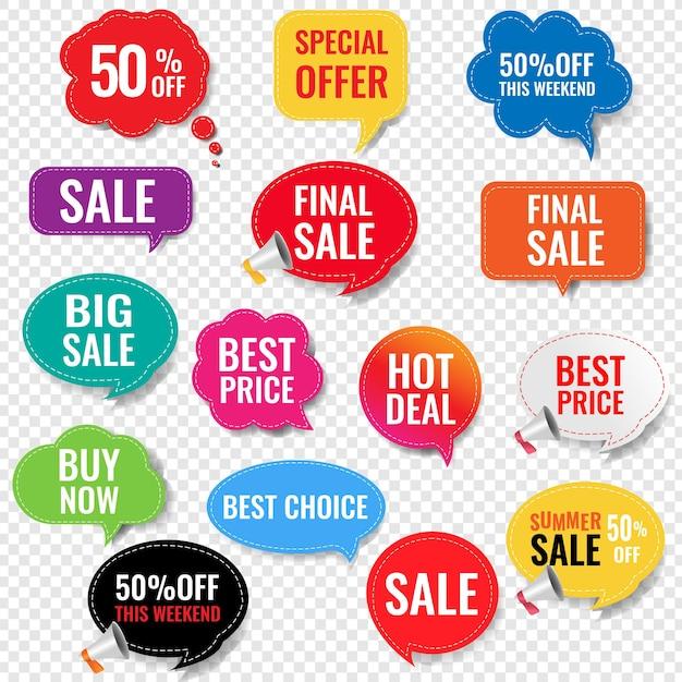 Etichette di vendita con sfondo trasparente isolato con maglia di gradiente, Vettore Premium