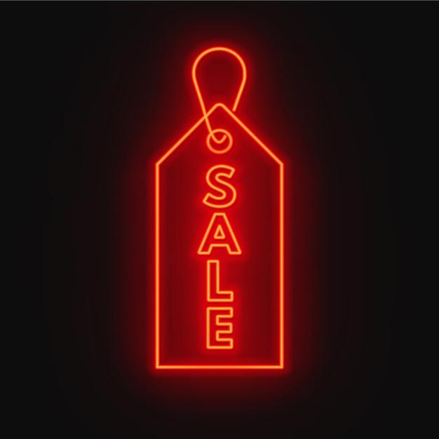 Vendita insegna al neon. pannello pubblicitario su sfondo scuro. Vettore Premium