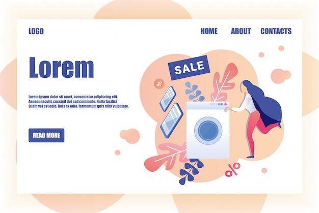 Modello di progettazione della pagina di vendita per il negozio di elettrodomestici Vettore Premium