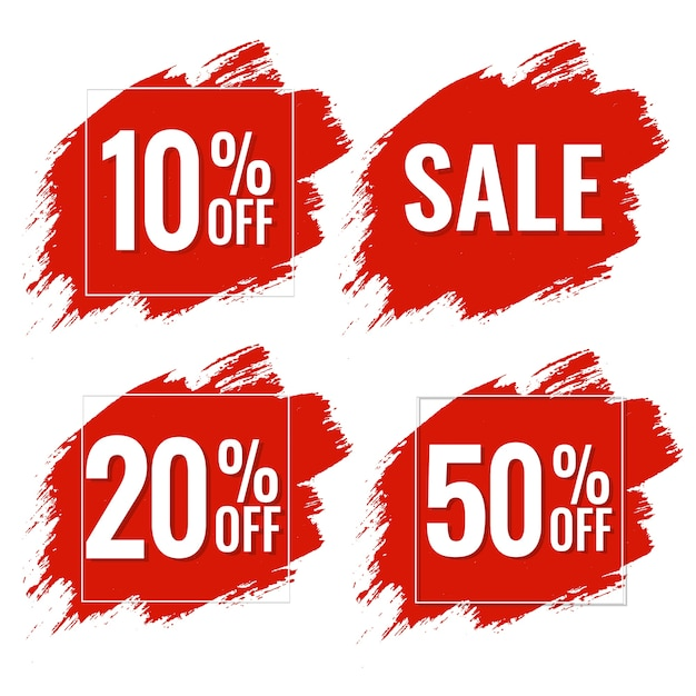 Vendita red blobs banner, illustrazione Vettore Premium