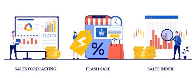 Previsione e indice delle vendite, vendita flash, concetto di offerta speciale con persone minuscole Vettore Premium
