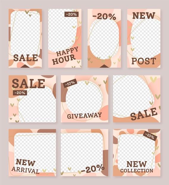Modello di social media di vendita nuovo post instagram Vettore Premium