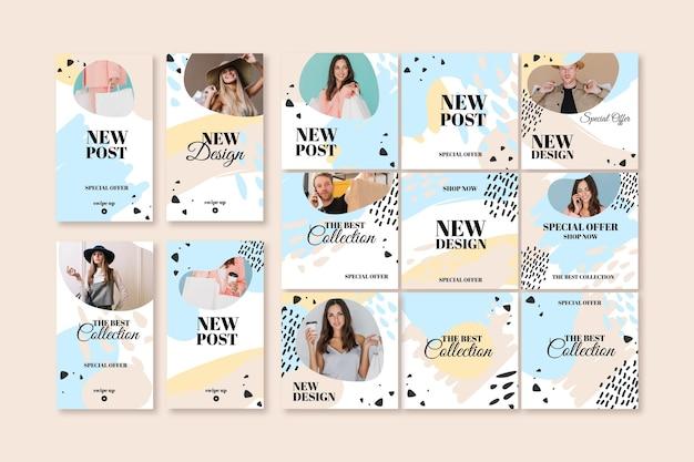 Nuovo modello di post instagram di vendita con modello femminile Vettore Premium