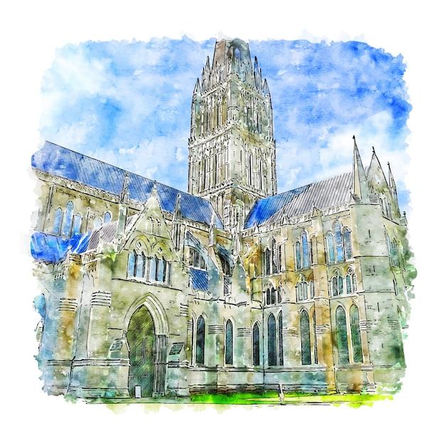 Illustrazione disegnata a mano di schizzo dell'acquerello della cattedrale di salisbury Vettore Premium