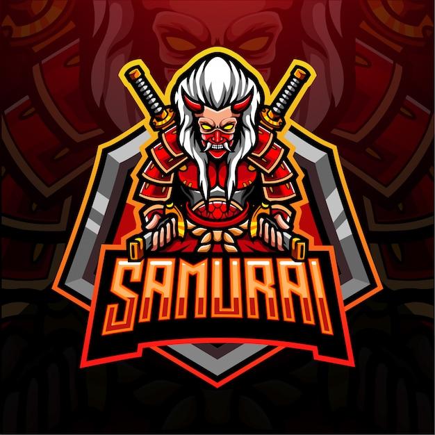 Samurai esport logo mascotte design Vettore Premium