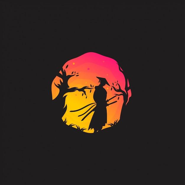 Logo samurai design Vettore Premium