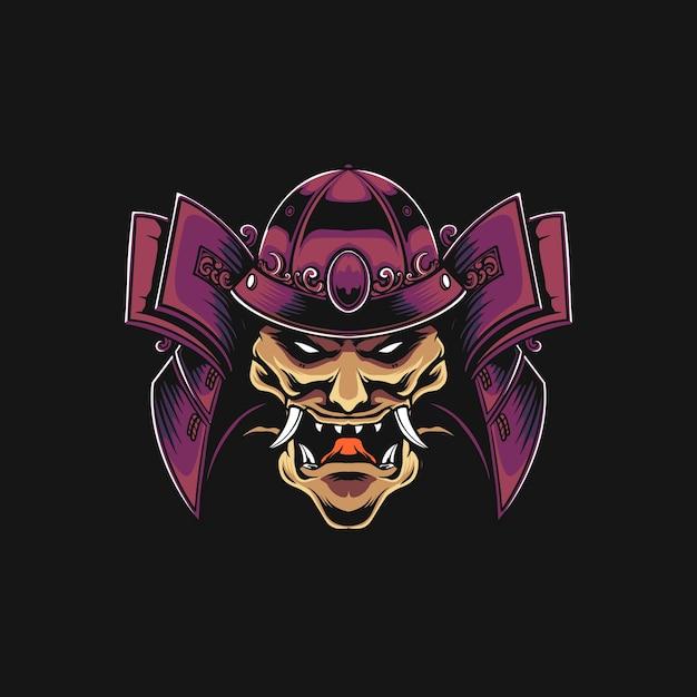 Samurai mecha illustrazione Vettore Premium