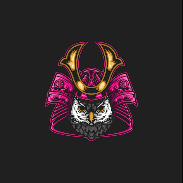 Illustrazione di gufo samurai Vettore Premium