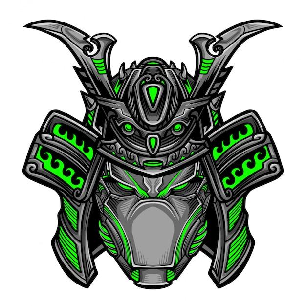 Samurai robot vector Vettore Premium