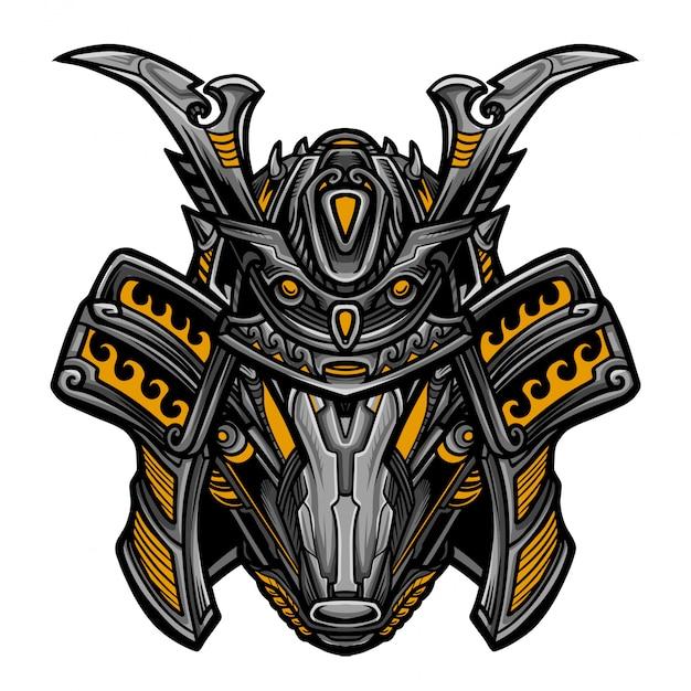 Samurai robot yellow mask Vettore Premium