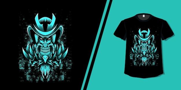 Maglietta con design teschio samurai Vettore Premium