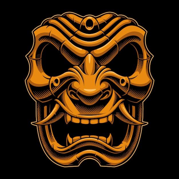 Maschera da guerriero samurai Vettore Premium