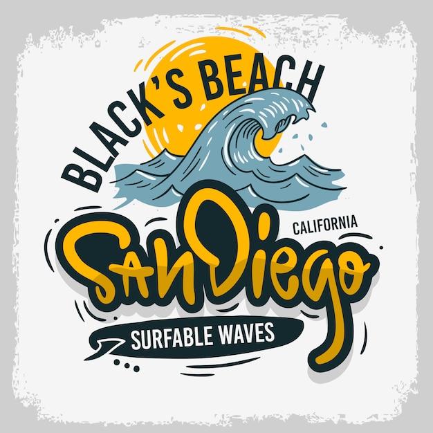 San diego california stati uniti stati uniti d'america surf surf surf design tipo di iscrizione disegnata a mano logo sign label per la promozione annunci maglietta o adesivo immagine poster Vettore Premium