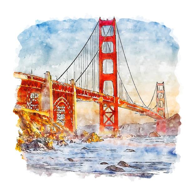 Schizzo dell'acquerello di san francisco california Vettore Premium