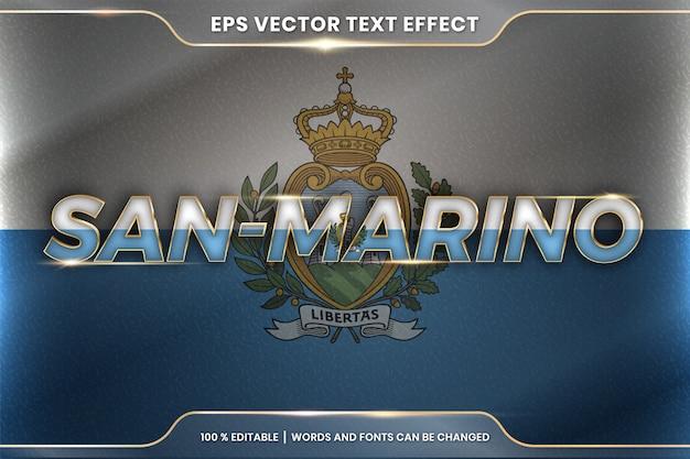San marino con la sua bandiera nazionale del paese, stile di effetto testo modificabile con concetto di colore oro sfumato Vettore Premium