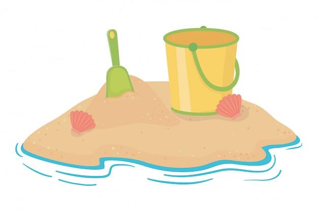 Secchio di sabbia di estate e spiaggia Vettore Premium