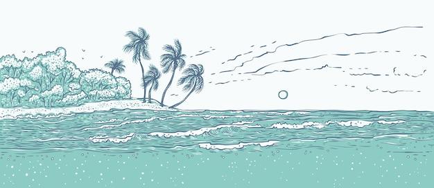 Isola tropicale sabbiosa con palme, onde del mare surf. Vettore Premium