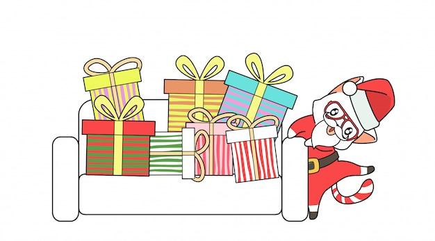 Gatto di santa con un sacco di regalo sul divano Vettore Premium
