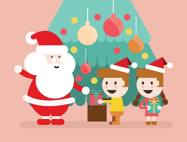 Bambini Babbo Natale Disegno.Babbo Natale E Bambini Divertirsi Sfondo Natale Disegno Di Carattere Piatto Illustrazione Vettoriale Vettore Premium