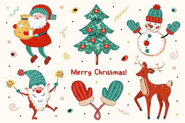 Babbo natale, albero di natale, pupazzo di neve, elfo, guanti, cervo. buon natale, anno nuovo. Vettore Premium