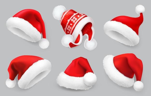 Insieme dell'illustrazione del cappello di babbo natale. abiti invernali. Vettore Premium