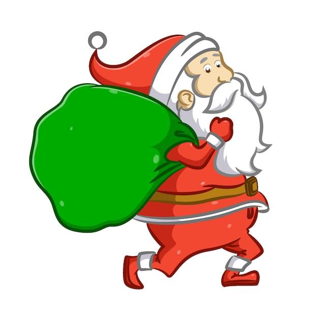 Babbo natale corre e tiene in mano un grande sacco di regali per natale Vettore Premium